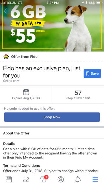 Fido 6GB summer promo plan