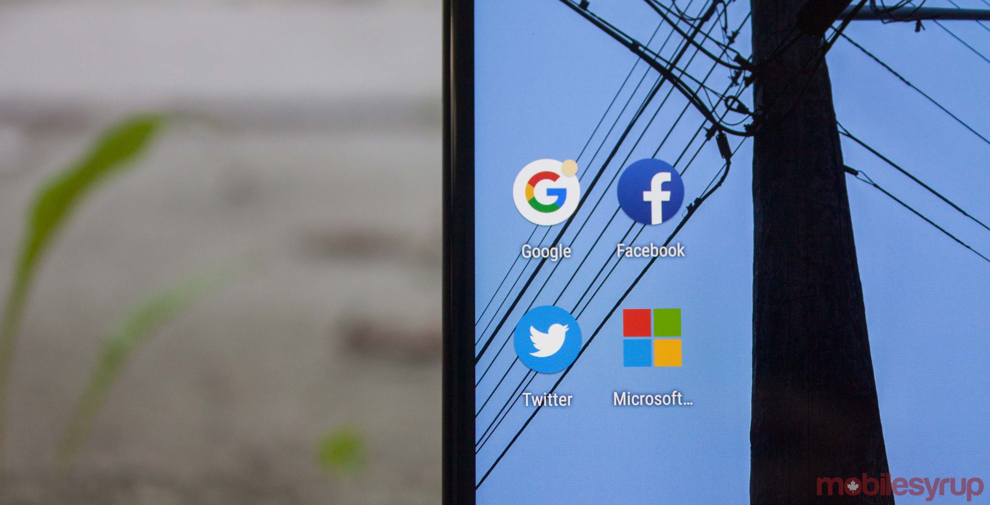 Google, Facebook, Twitter and Microsoft apps
