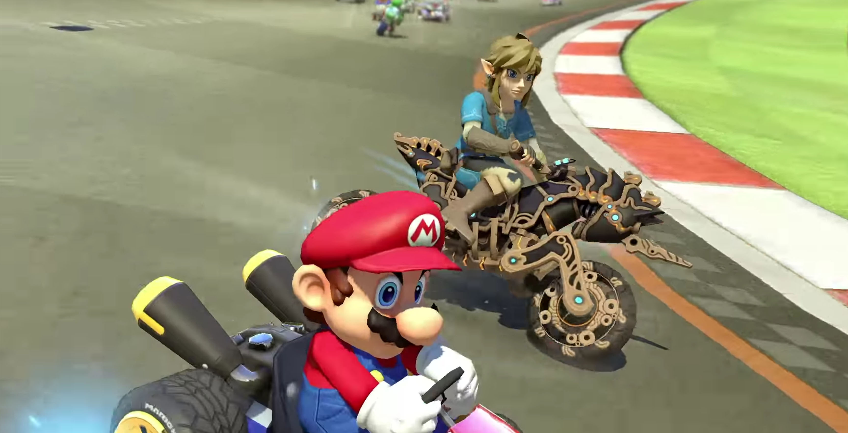 Link rides into mario kart deluxe on his master cycle zero