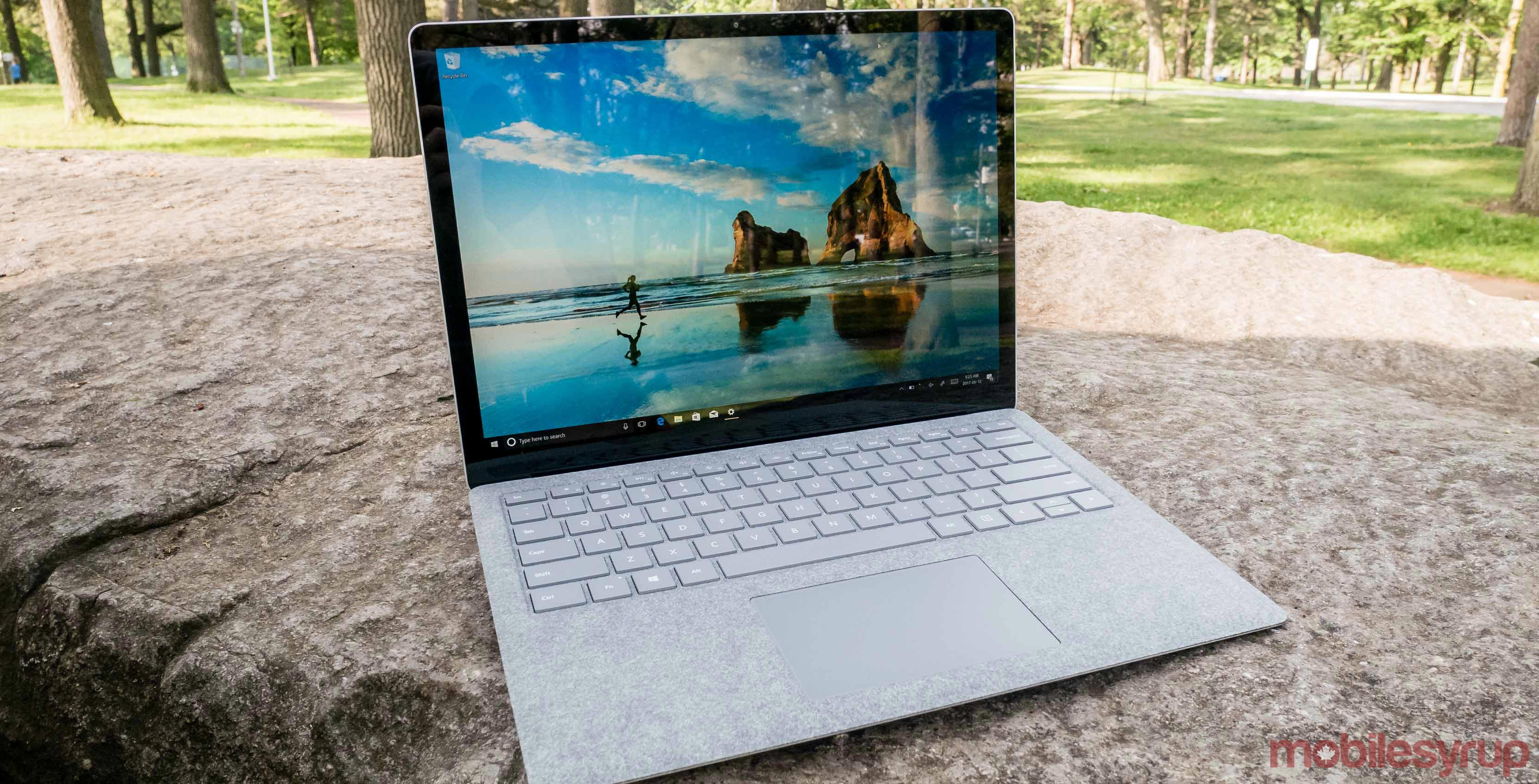 Microsoft Surface Laptop on ground