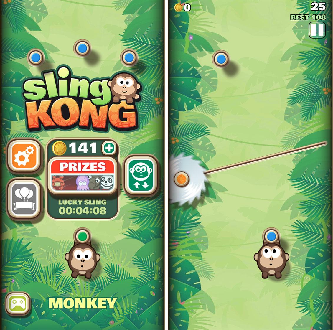 Sling Kong start screen
