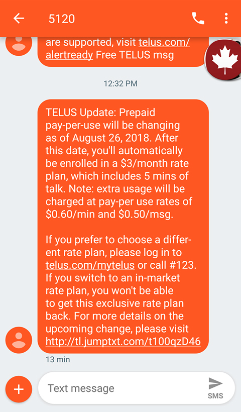 Telus enrolling prepaid pay-per-use subscribers into $3/month plan