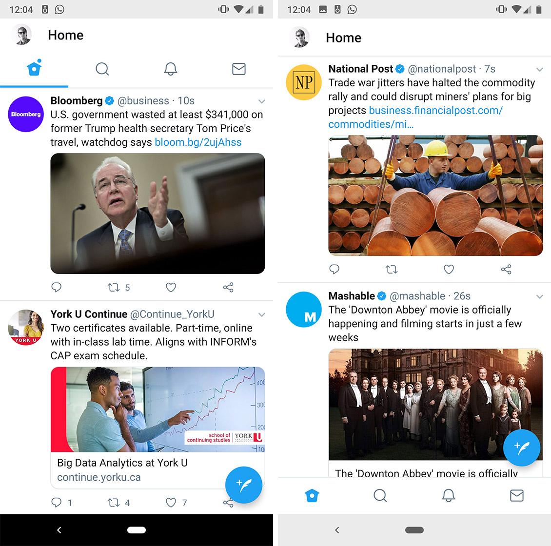 Screenshots of Twitter's bottom navigation bar