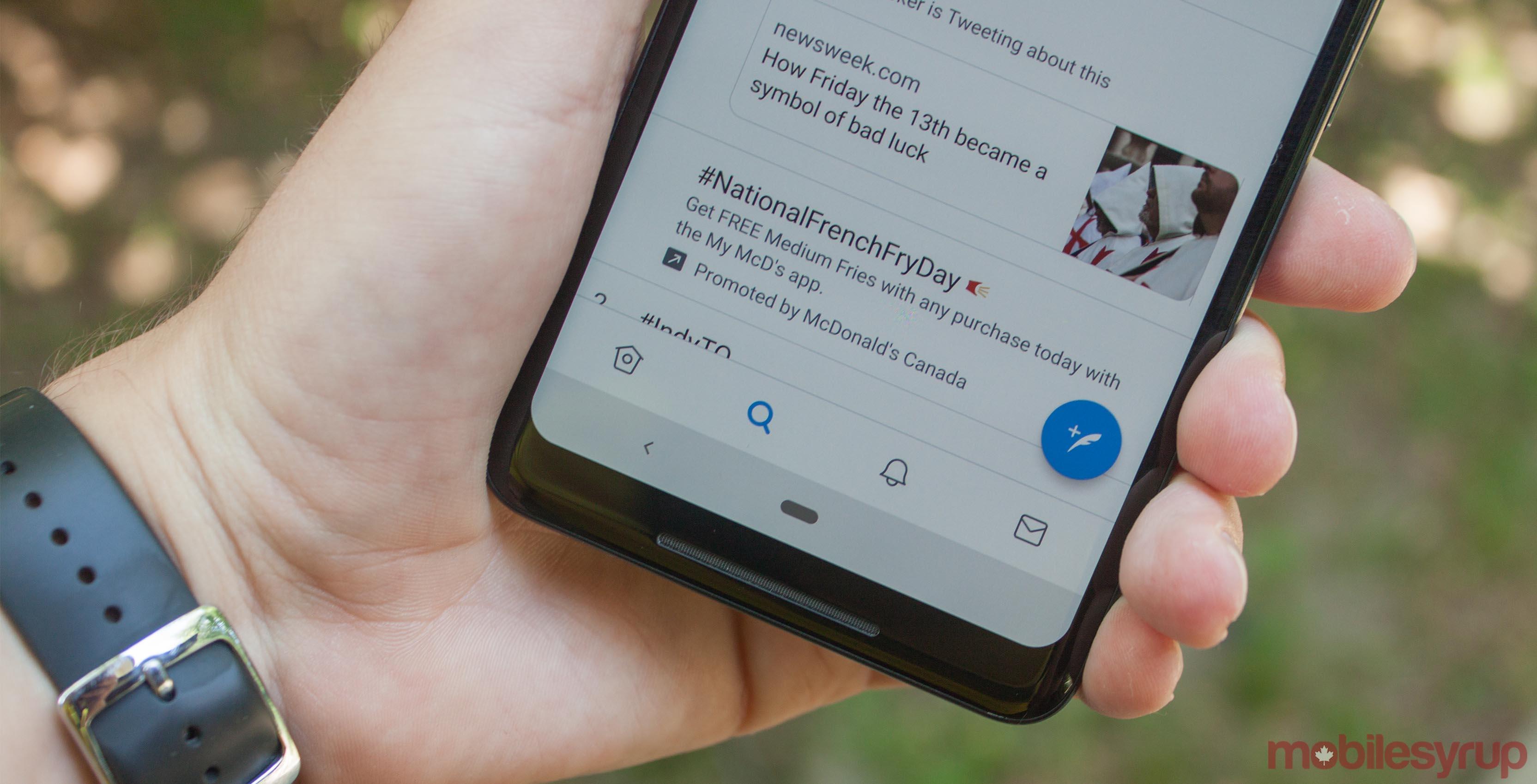 Twitter's bottom navigation bar on a Pixel 2 XL