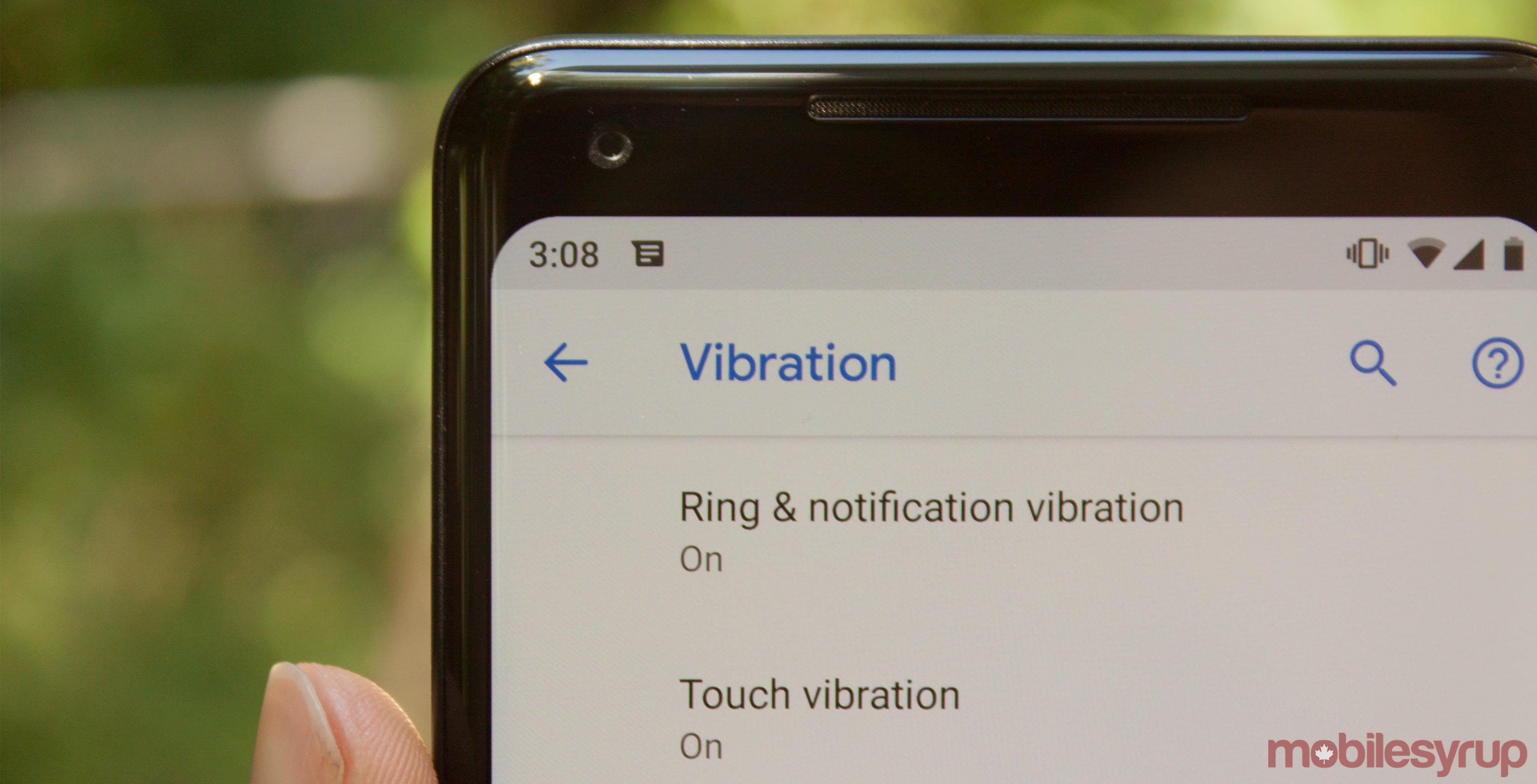 Vibration options in Android P