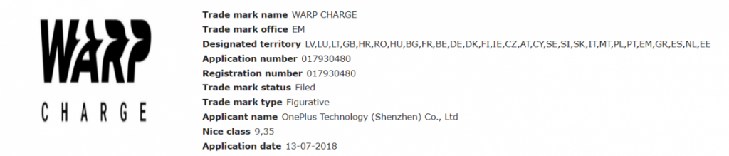 Warp Charge trademark application