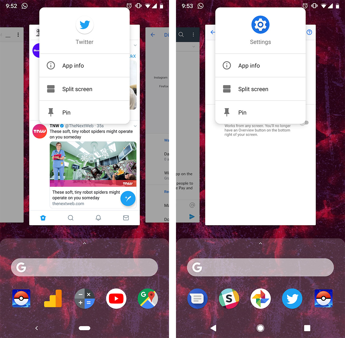 Activating split screen in Android Pie