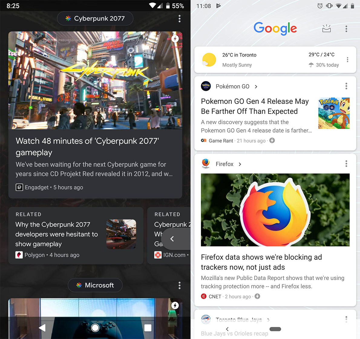 Google Feed new look (left) vs. old (right)