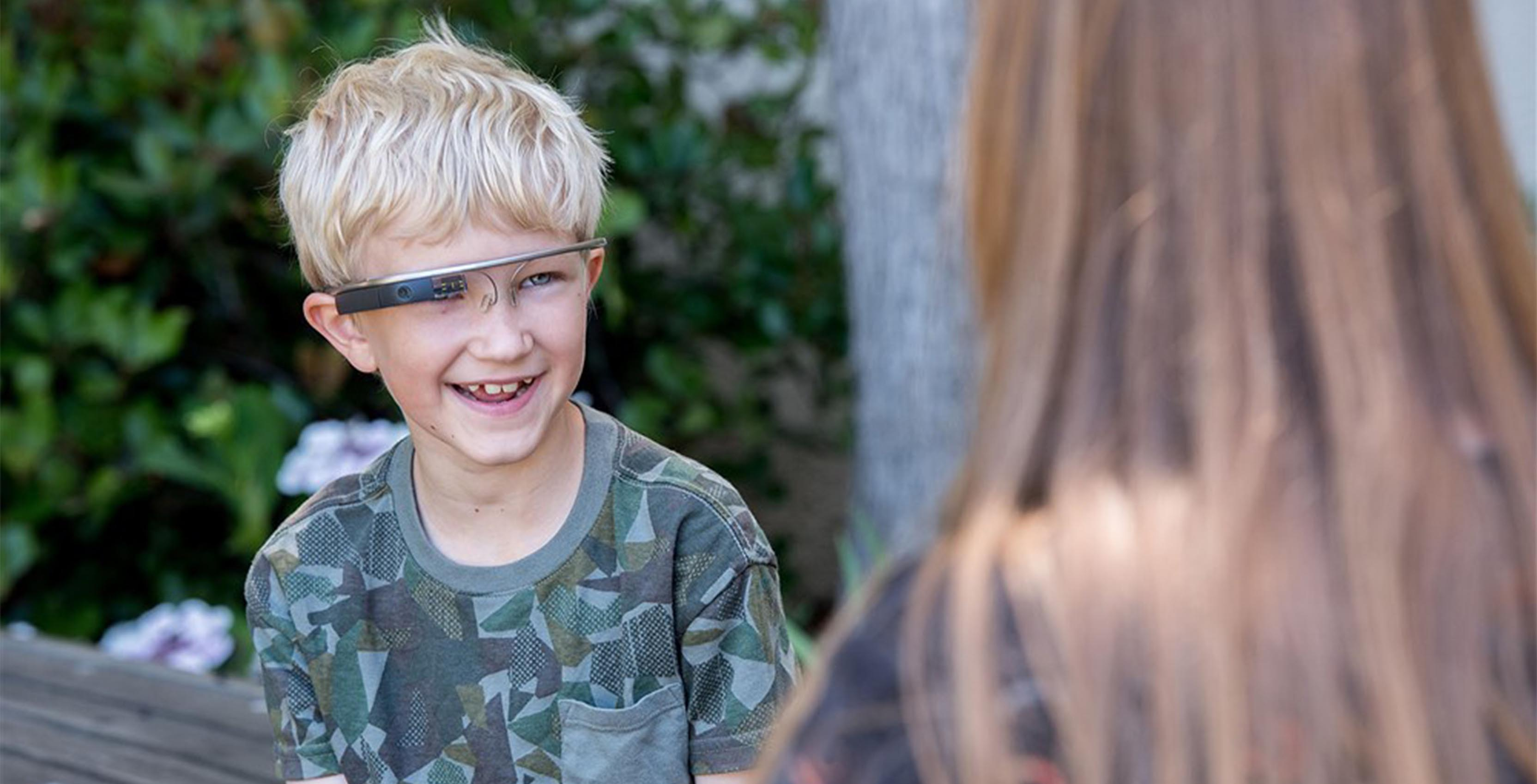 A child uses Google Glass experimental autism therapy