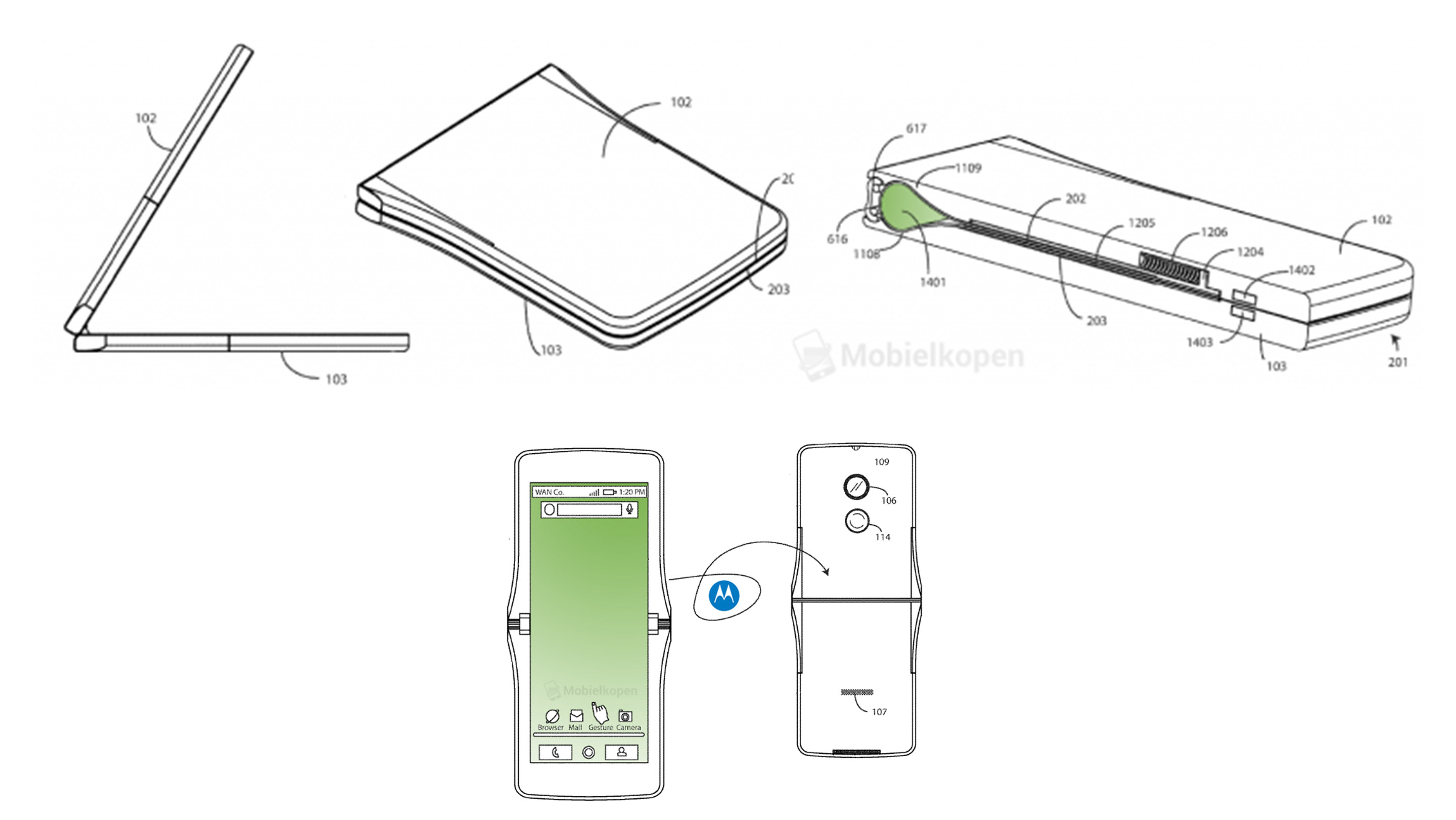 Motorola folding phone patent images