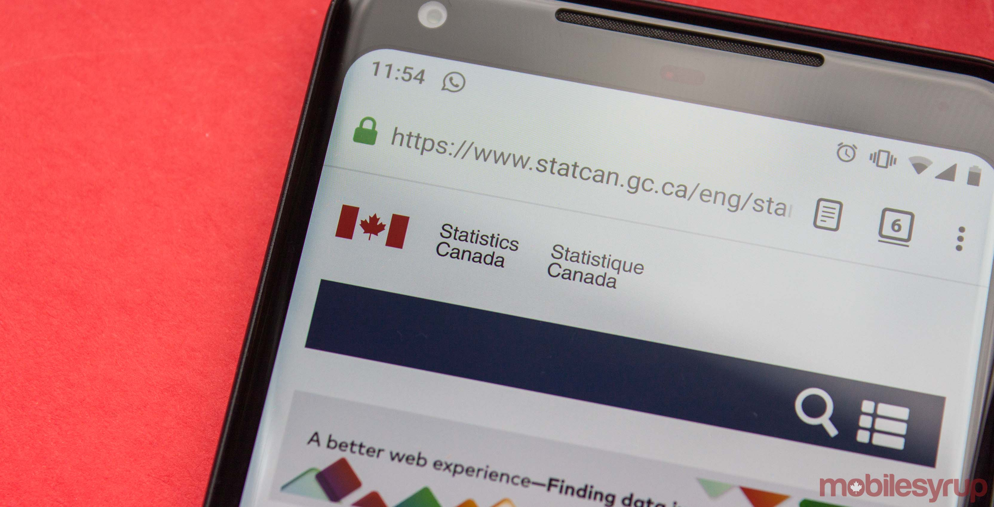 Statistics Canada website