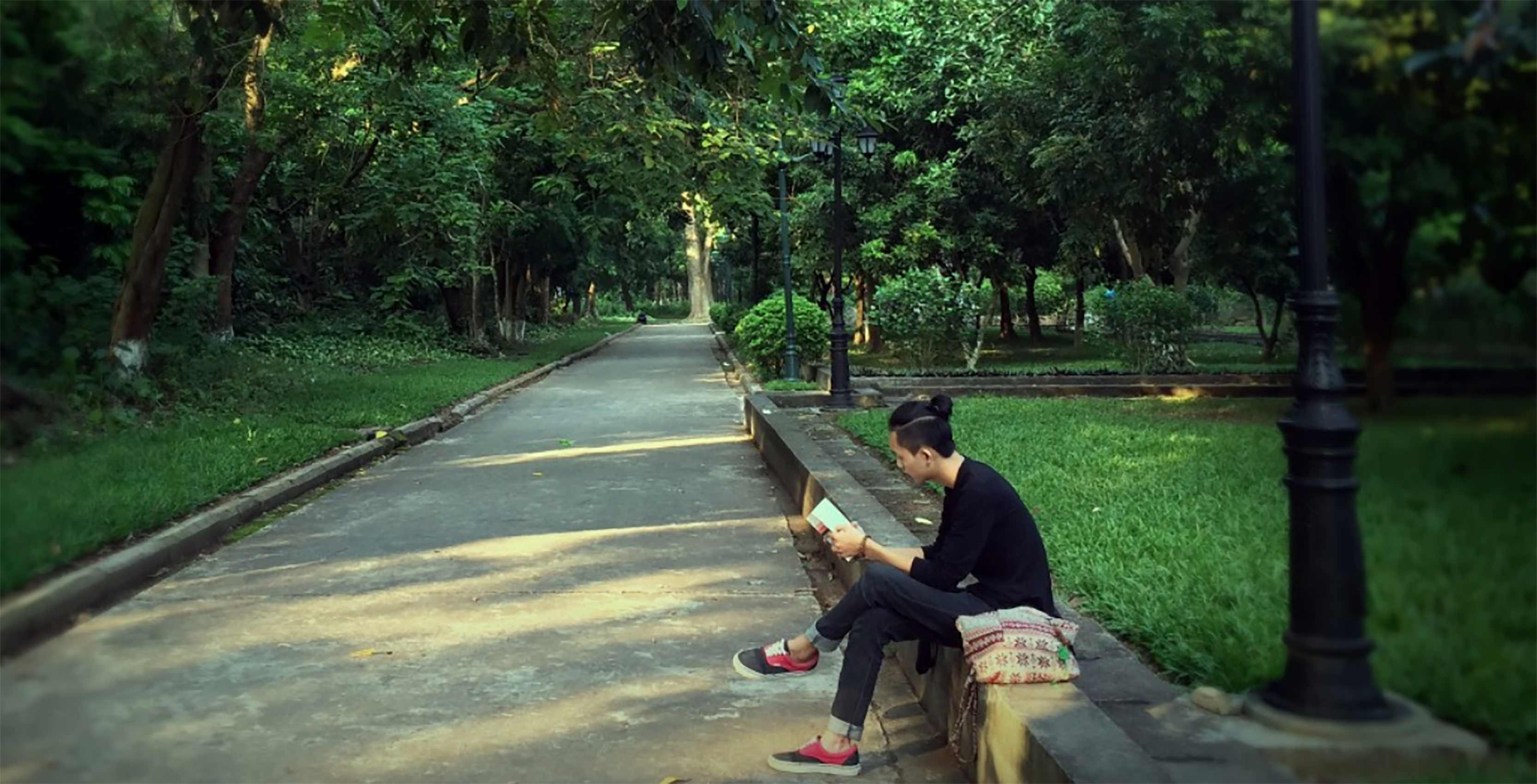 person reading in park