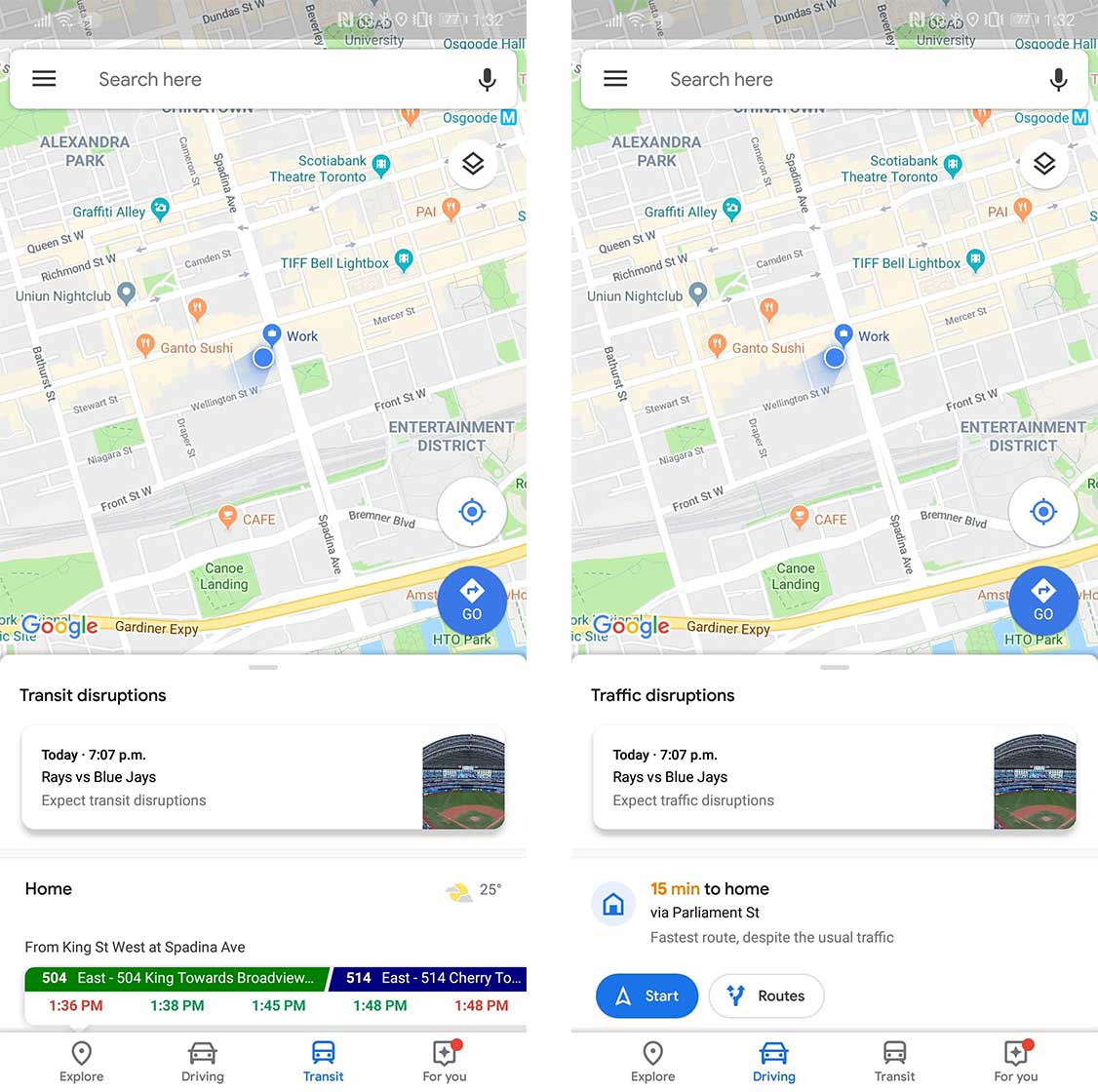google is testing 'commuting' tab in maps to replace 'driving' and