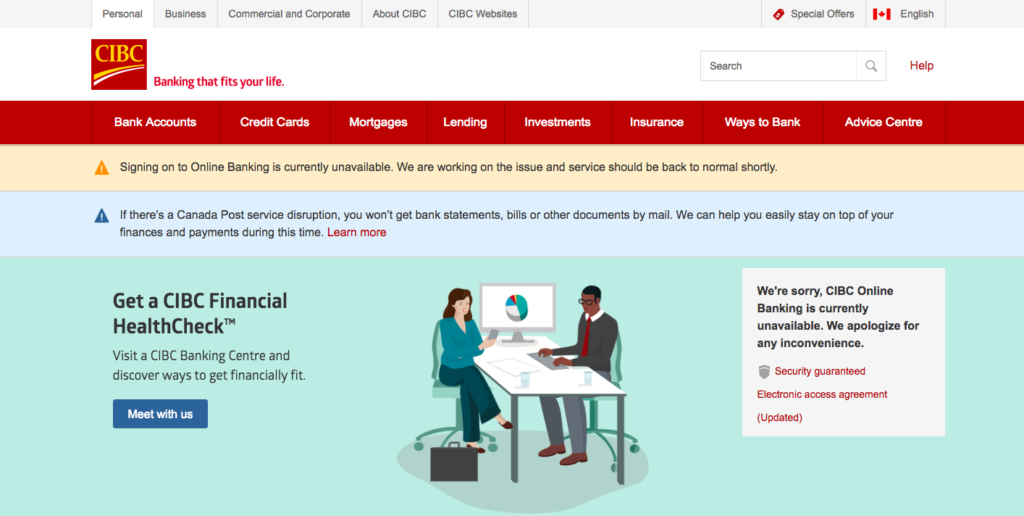 CIBC's online banking service currently unavailable