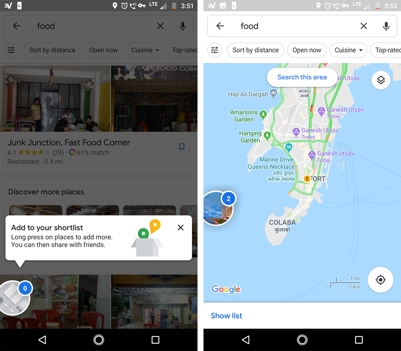 Adding places to a Google Maps shortlist