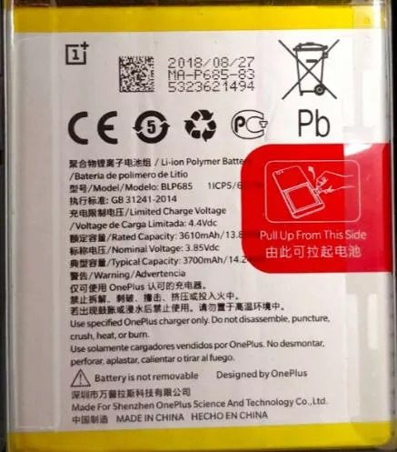 A leaked image of the OnePlus 6T's internal battery
