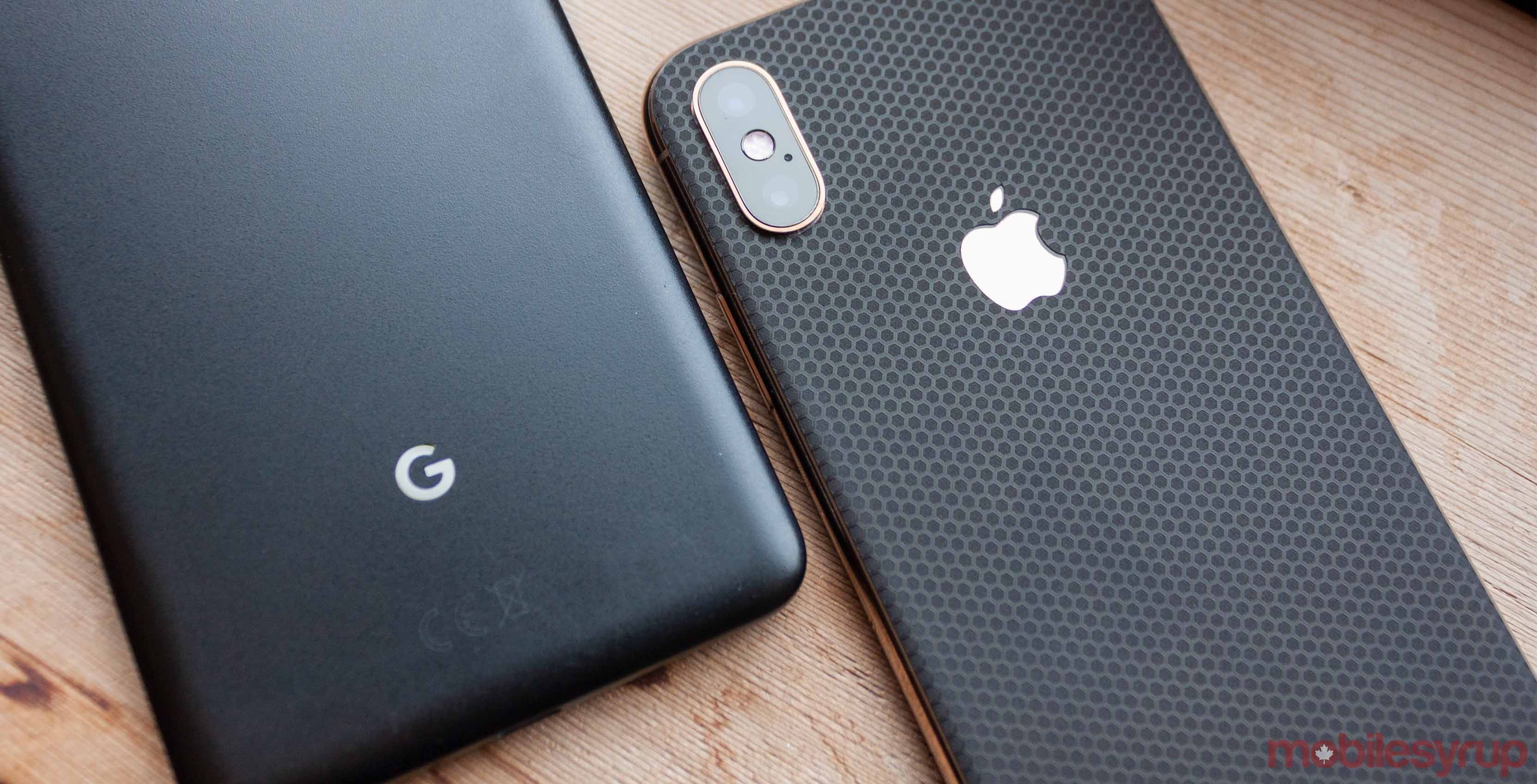 Pixel 2 XL and iPhone XS logo bright
