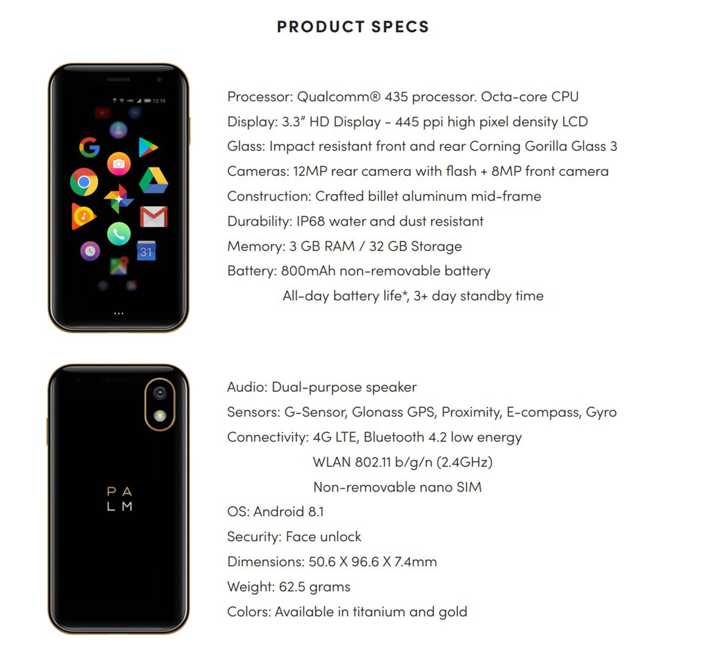 Palm product specs