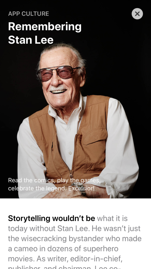 Remembering Stan Lee App Store