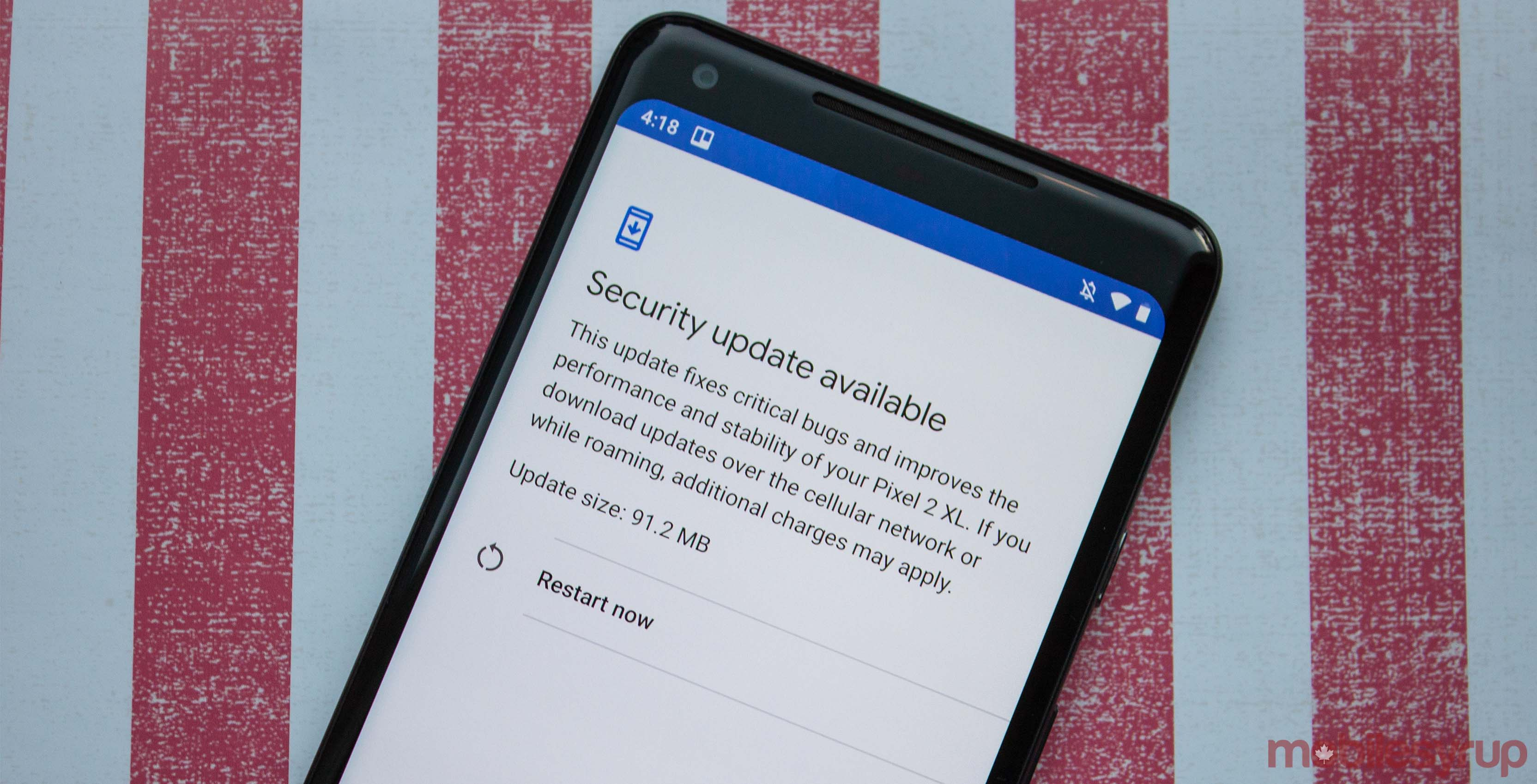 November security patch on Pixel 2 XL
