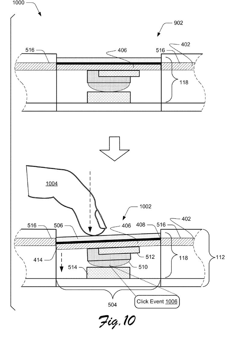 Surface Type Cover trackpad patent