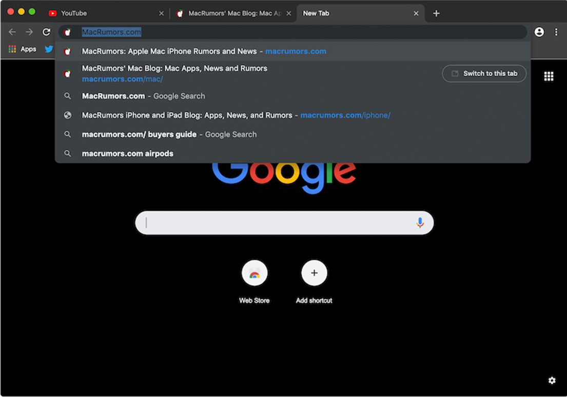 Dark mode in Chrome Canary omnibox