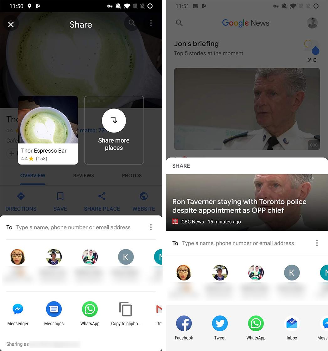 Google Maps and News sharing menus