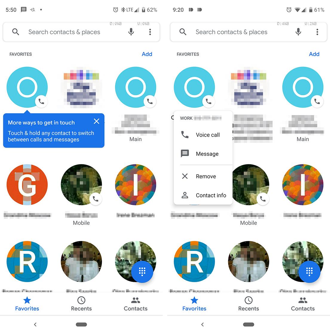 Google Phone Favourites tab