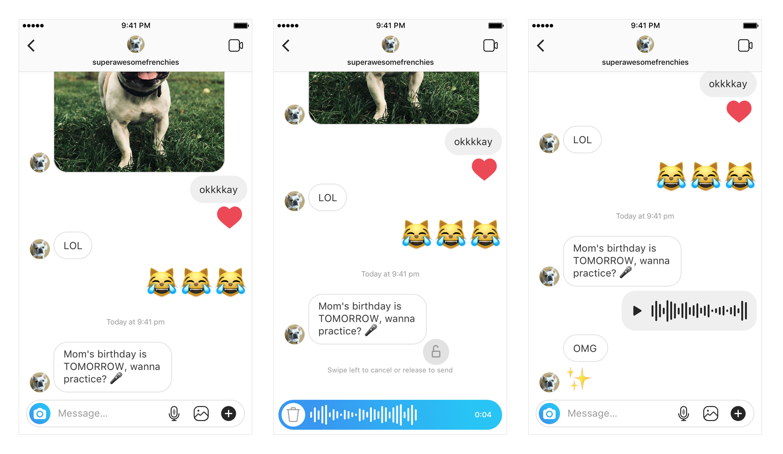 Instagram Direct audio messages