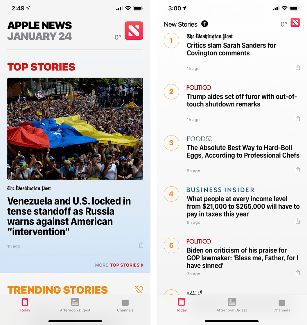Apple News screenshot