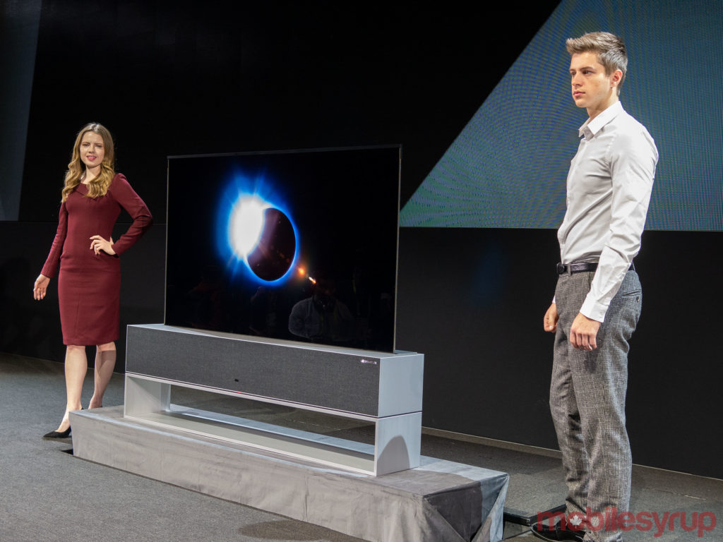 LG Signature OLED TV R with roll-up display showcased at CES 2019