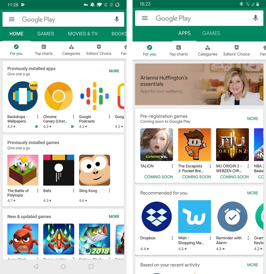 Google Play Store layout
