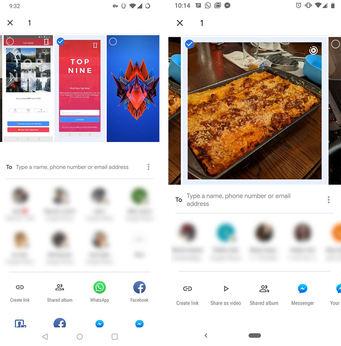 Google Photos share menu