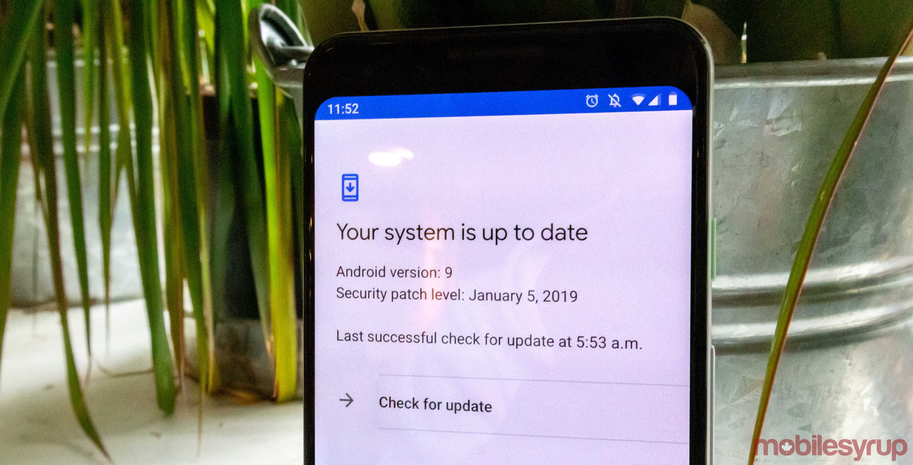 Google Pixel 3 update button