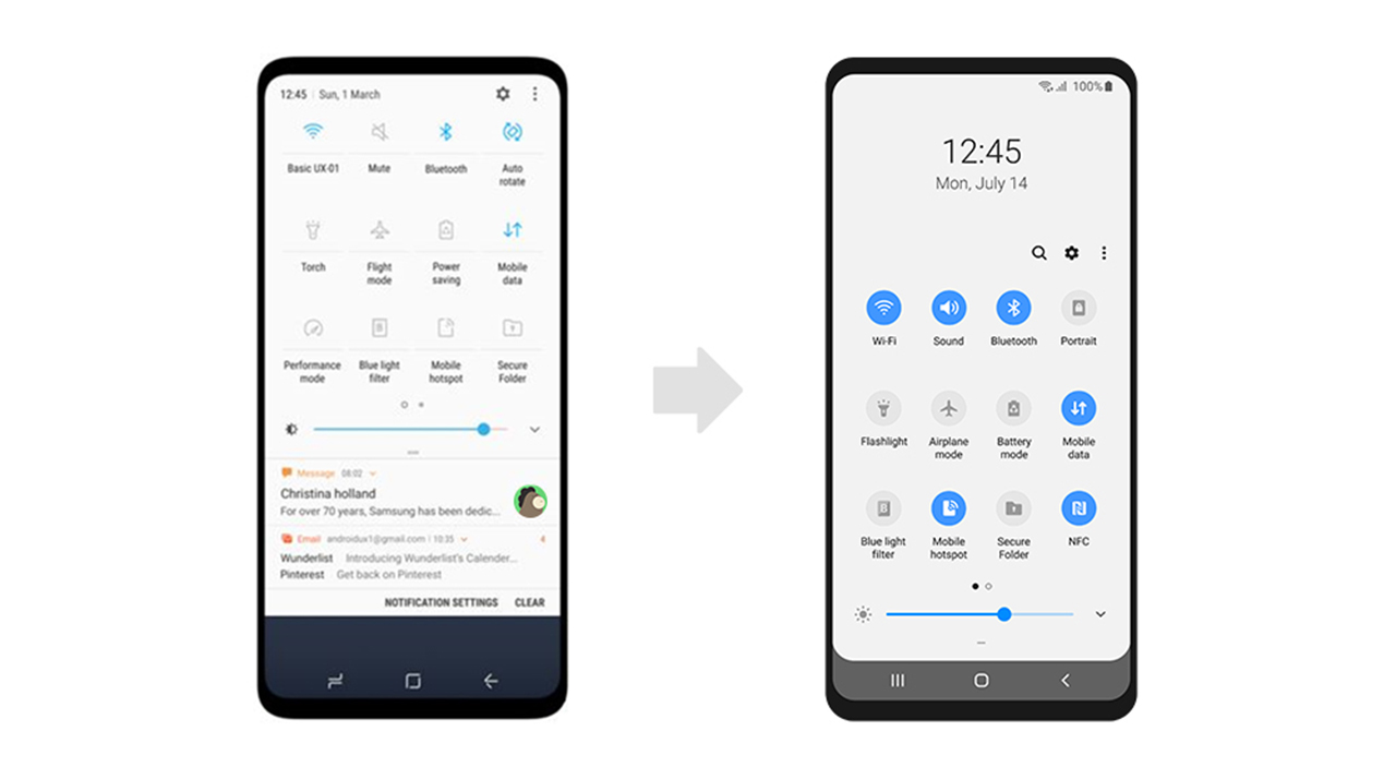Samsung One UI Quick Settings
