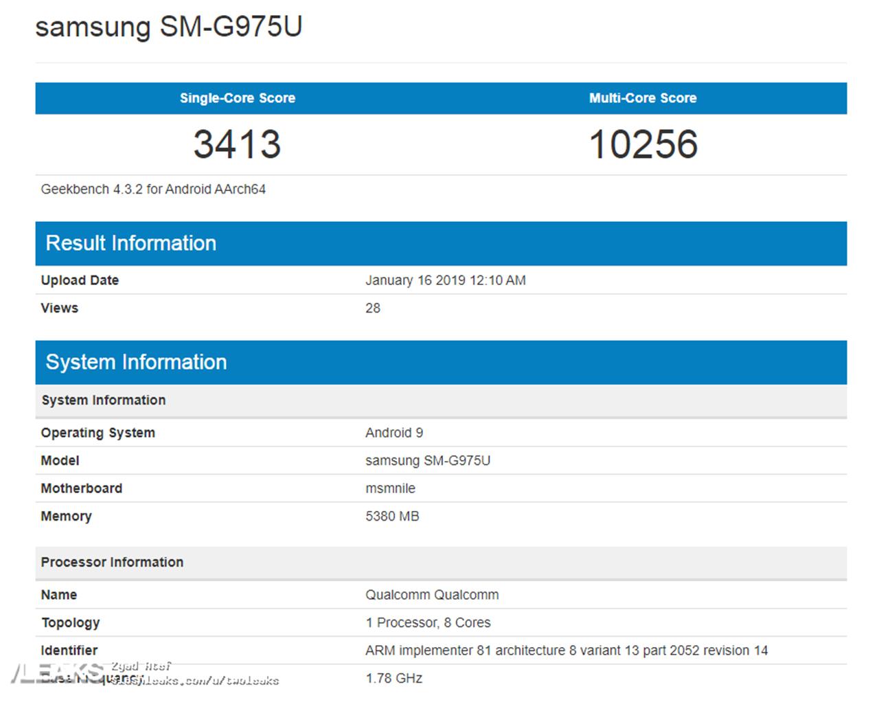 Samsung Galaxy S10+ benchmark