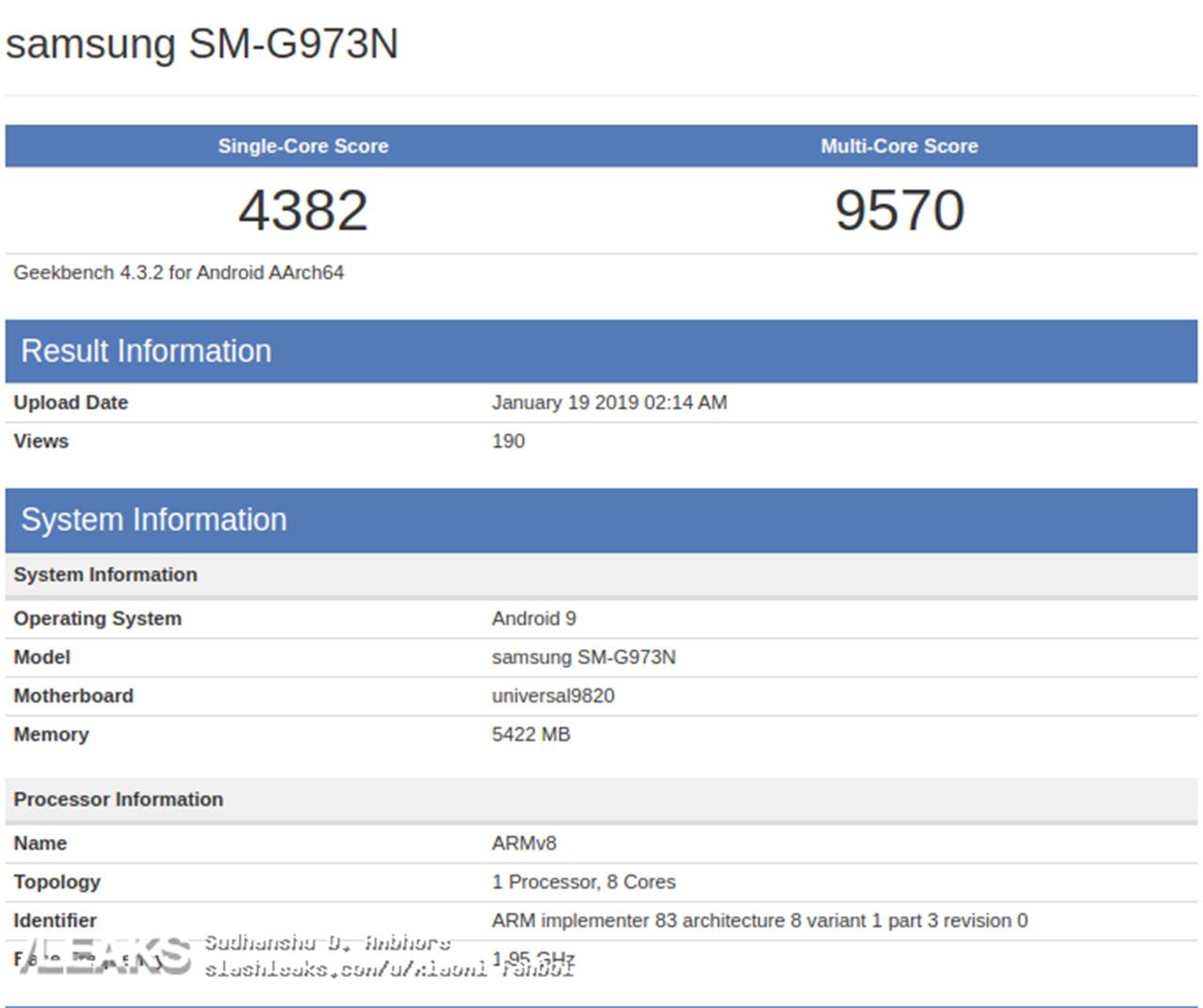 Samsung Galaxy S10 Exynos 9820 variant Geekbench score