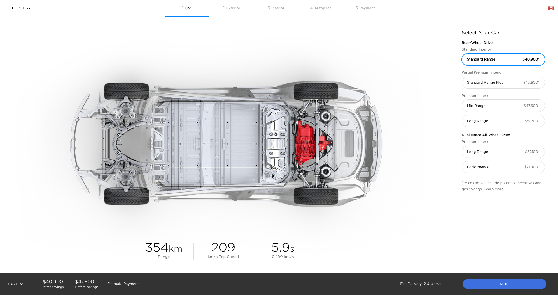 Tesla drops price of Model 3 to $47,600 in Canada