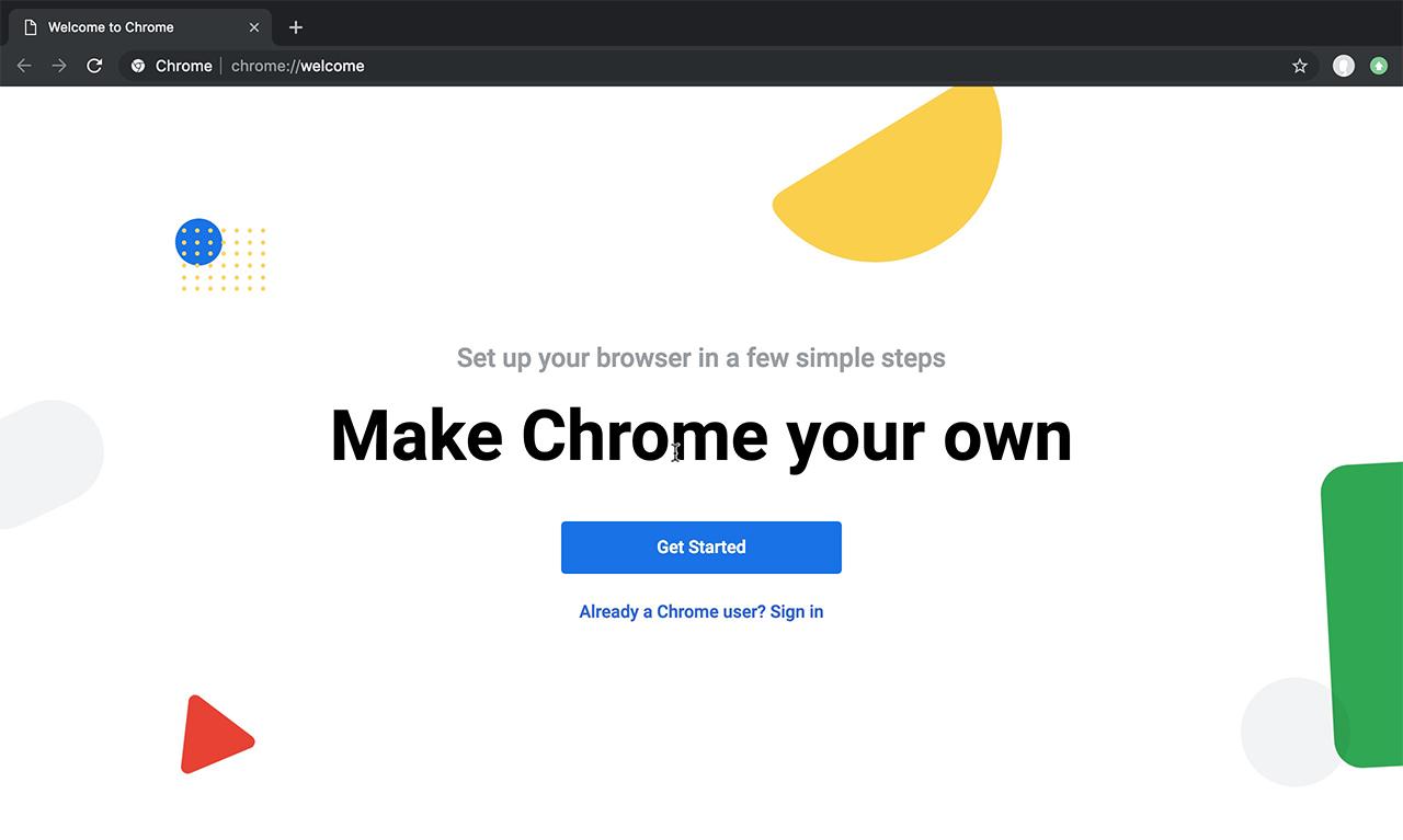 Google Chrome welcome page