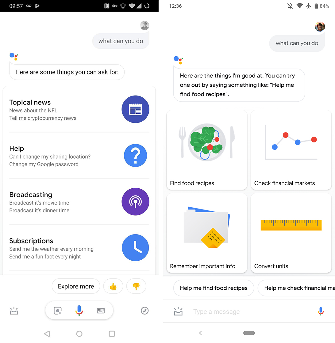 Google Assistant action grid