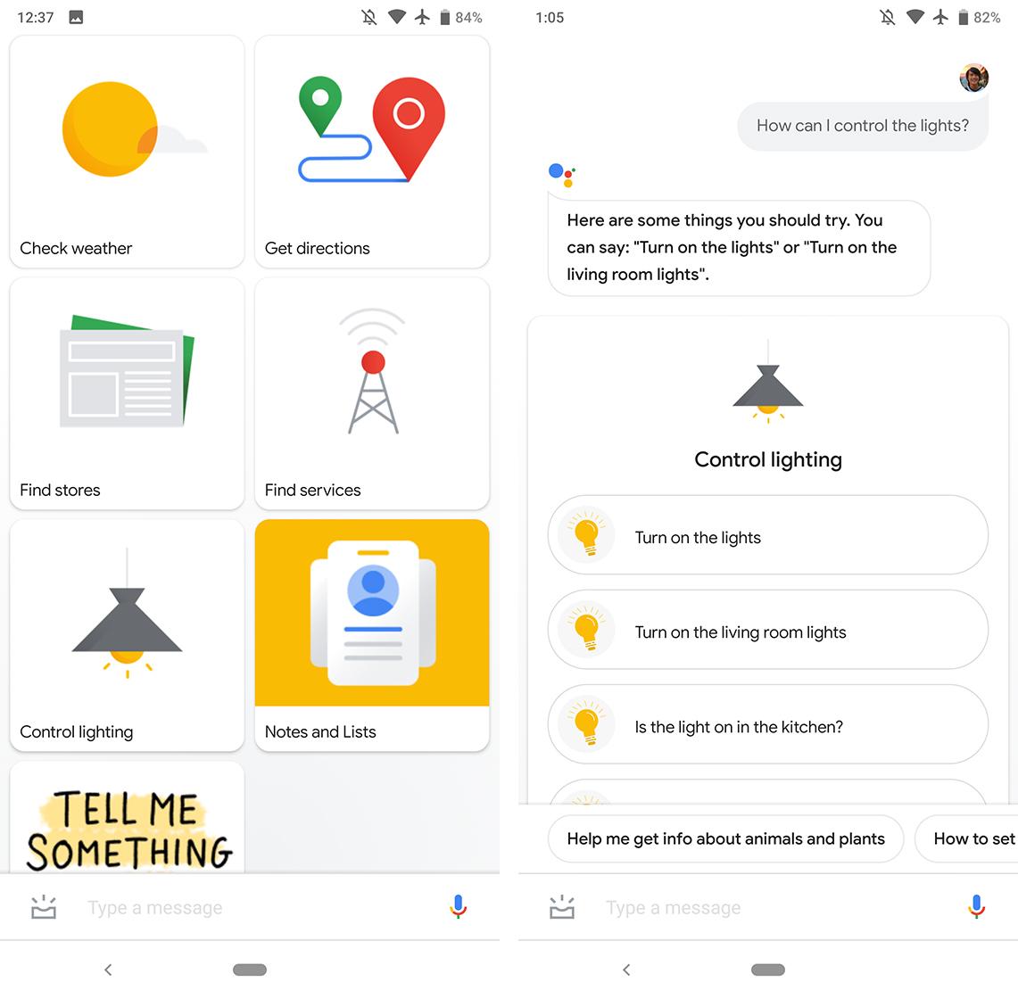 Google Assistant light control