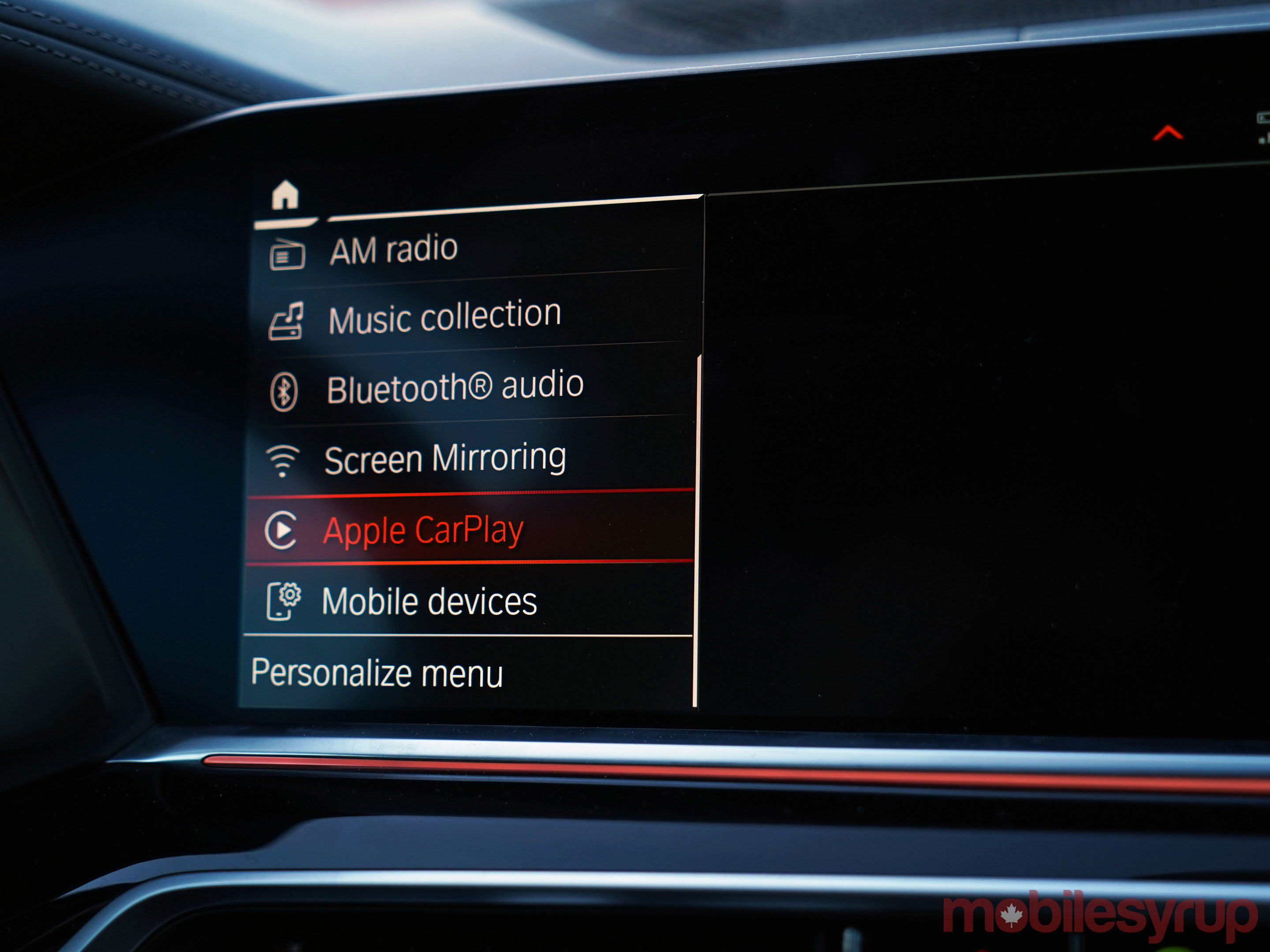 BMW iDrive media menu