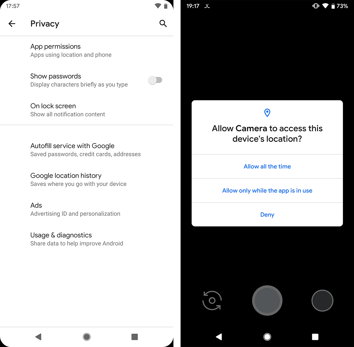 Android Q privacy and location