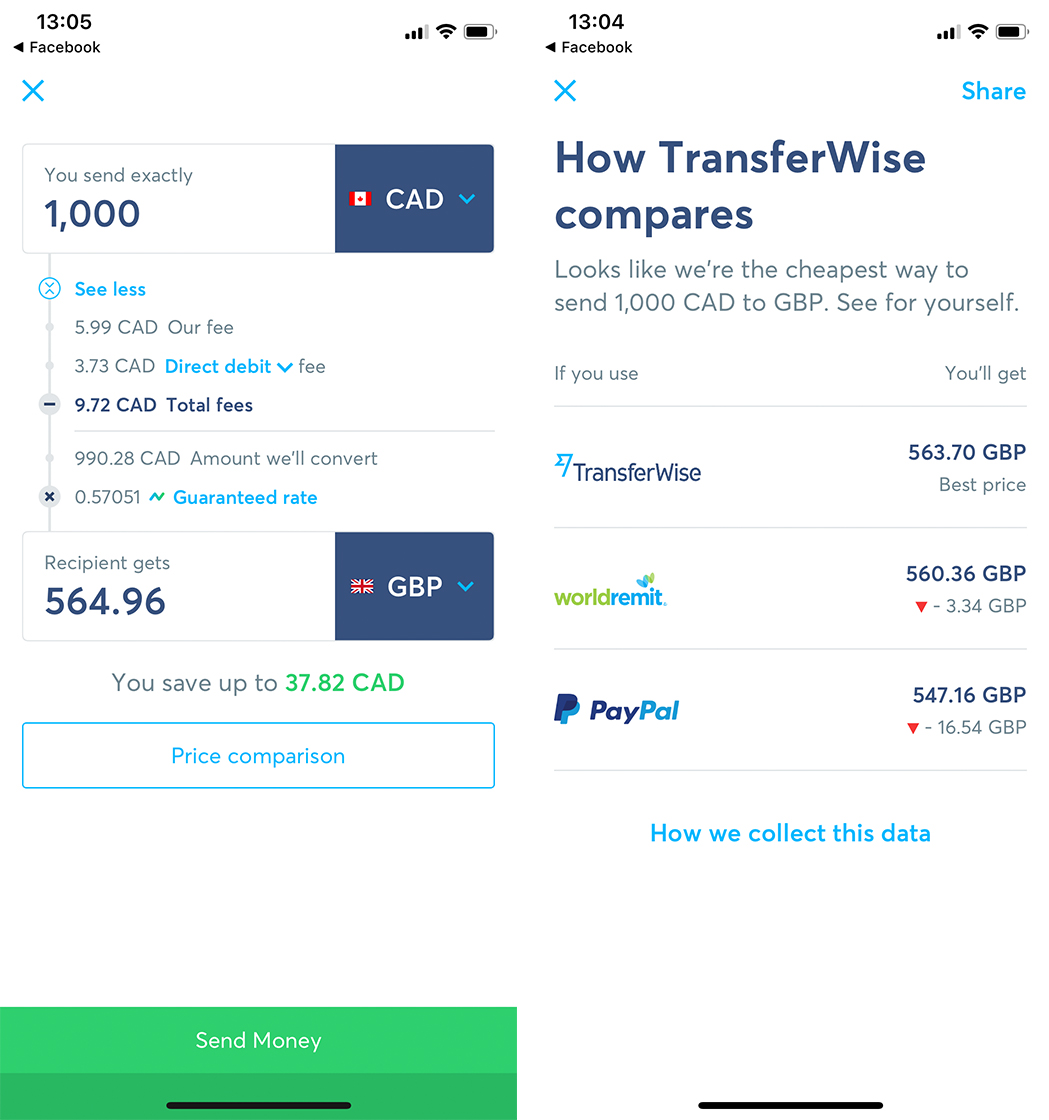 TransferWise app lets you send money abroad for less than