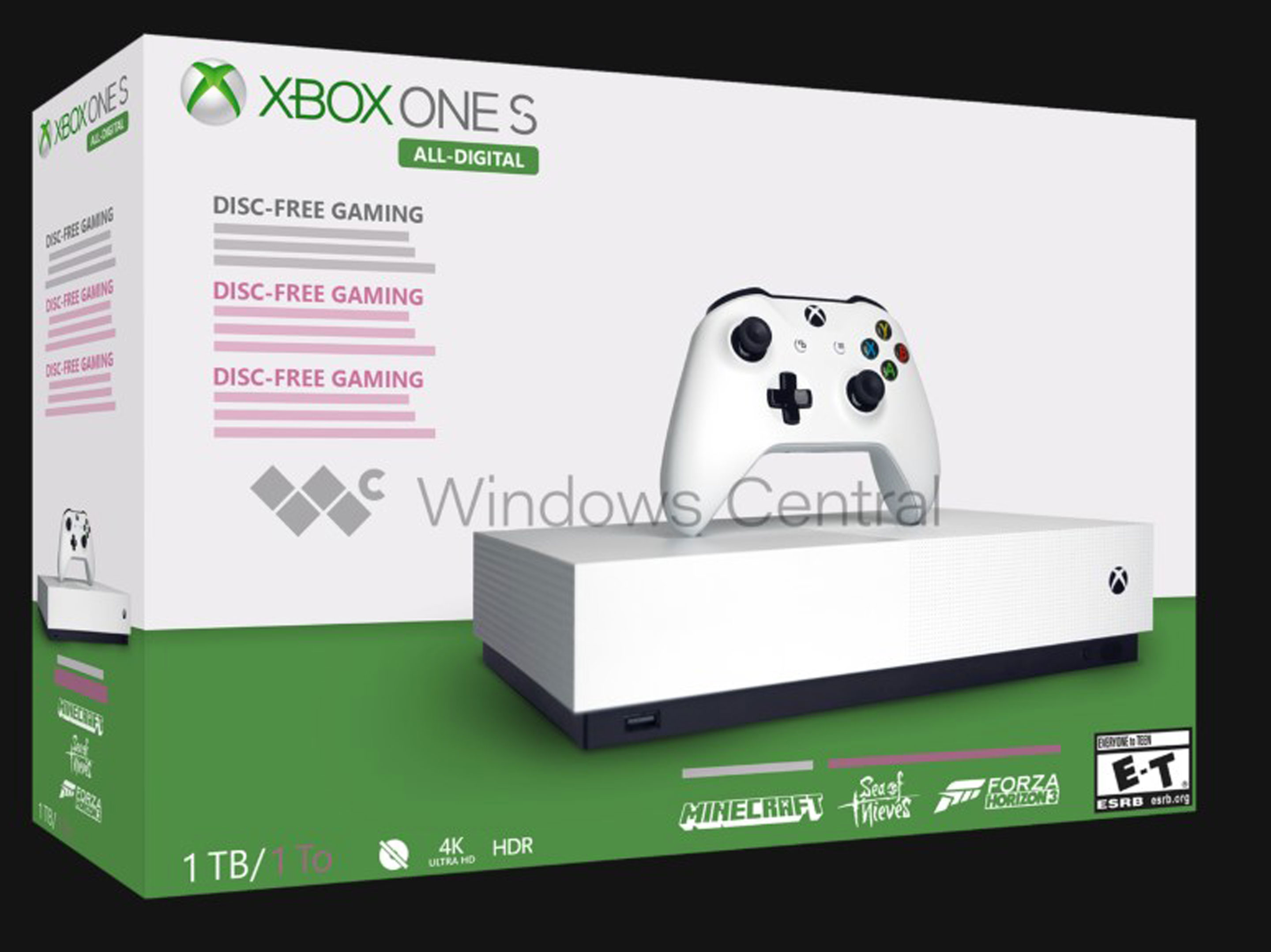 A photoshop mockup of the Xbox One S All-Digital edition