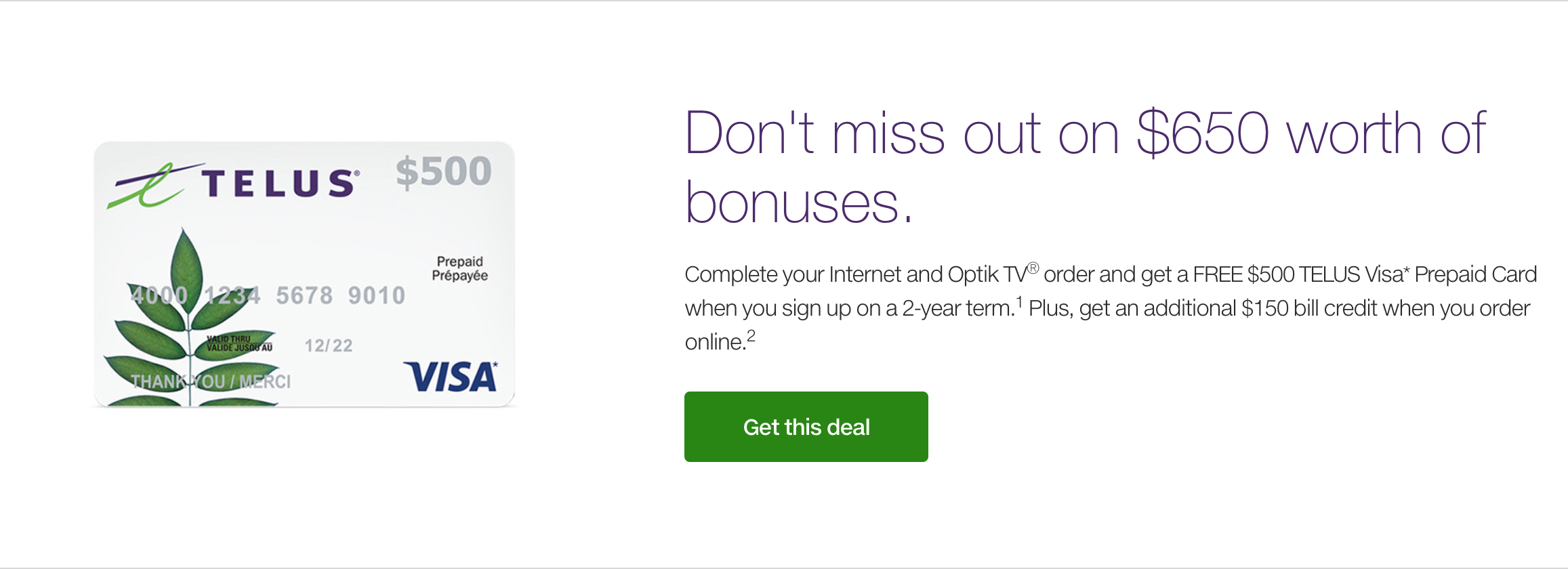 Sign up for Telus' Optik TV and get a 50-inch 4K TV and $150 bill credit