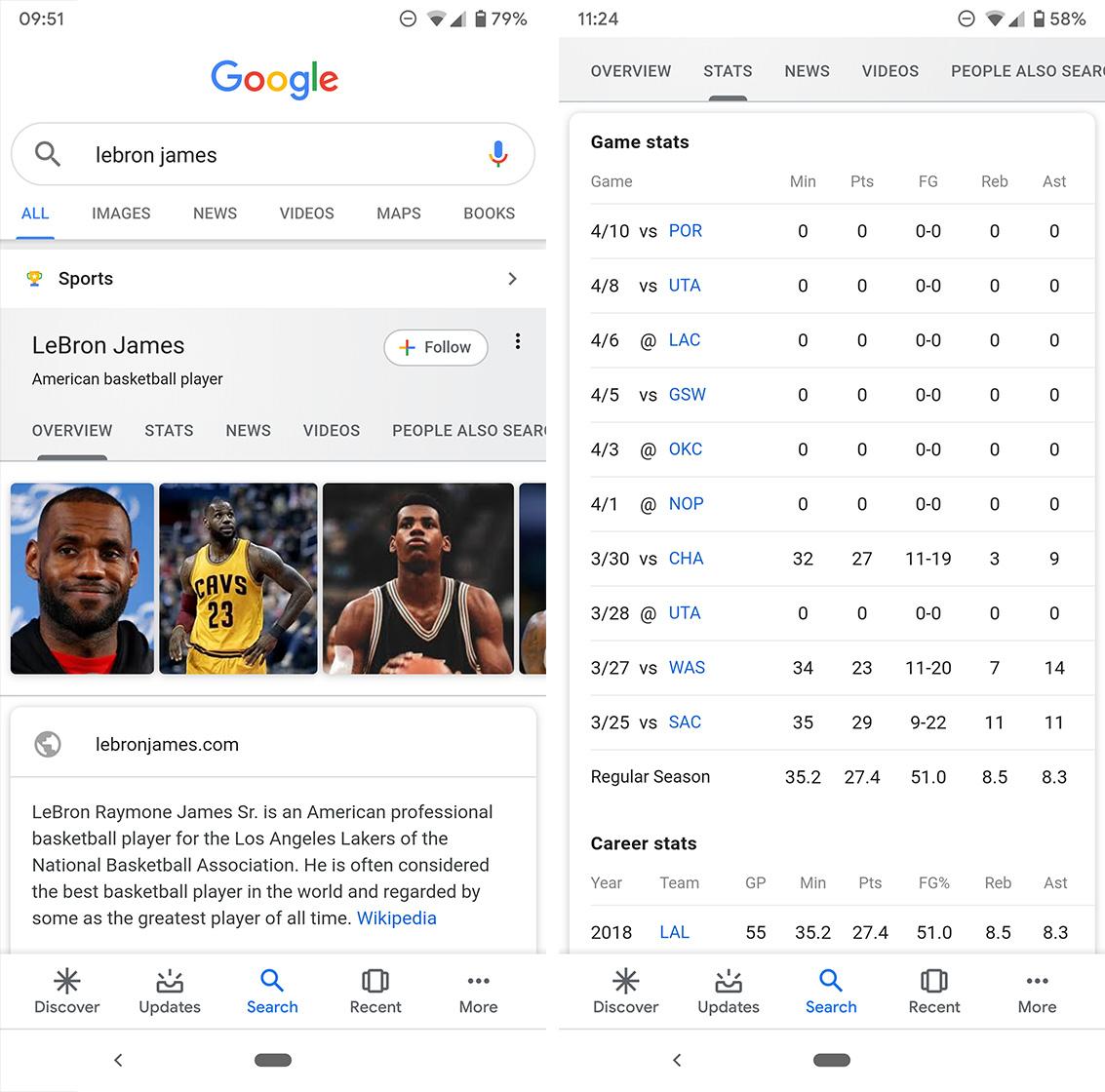 Google search athlete card