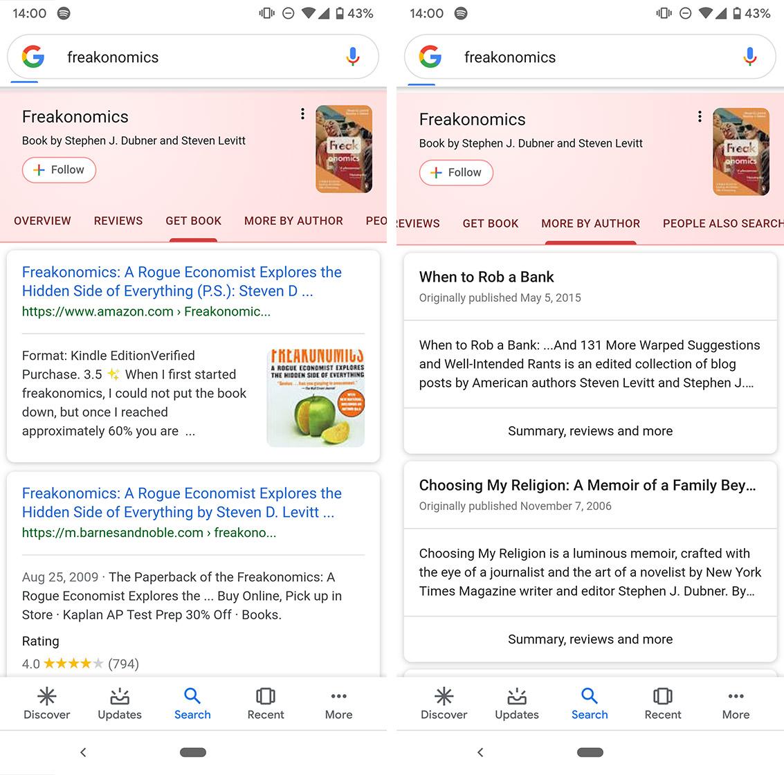 Google search books card