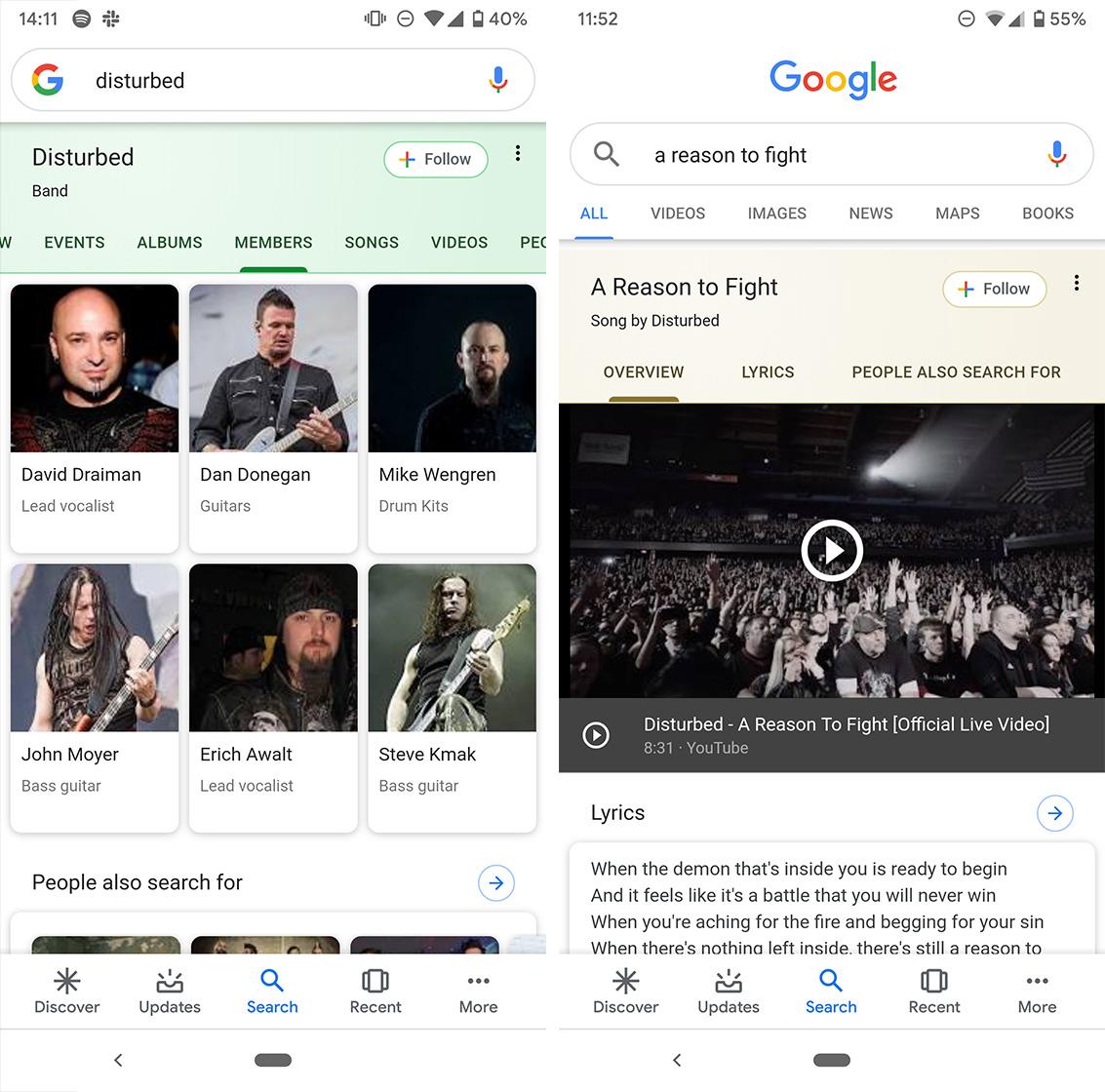 Google search band card