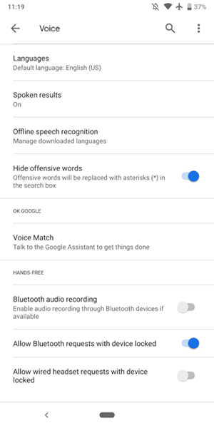 Google app Hands-free settings changes